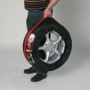 Unitec 75555 Reifentaschen Set Reifenschutzhülle 4 Teilig Wasserabweisend Waschbar Schwarz Rot Für Sauberen Transport Und Sichere Aufbewahrung Auto