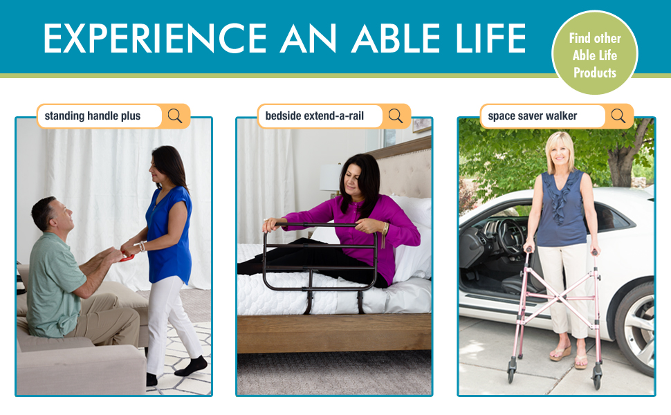 able life standing handle plus bedside extend bed rail space saver walker rollator medical products