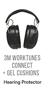 3M WorkTunes Connect + Gel Cushions Hearing Protector