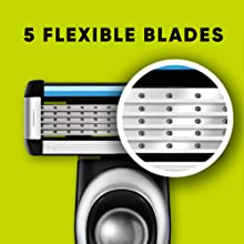 5 blade razor with flexible blades for smooth shaving