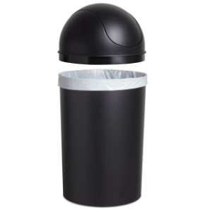 trash can, garbage can, large trash can, kitchen trash can, swing-top trash can, trash can with lid