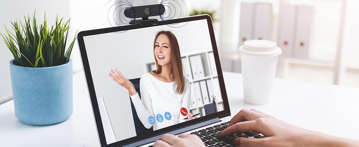 Integriertes Mikrofon ermöglicht Voice-over-IP, z.B. Skype, Teams, Zoom, YouTube