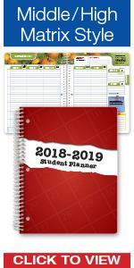 high school middle student planner 2018-2019 agenda organizer