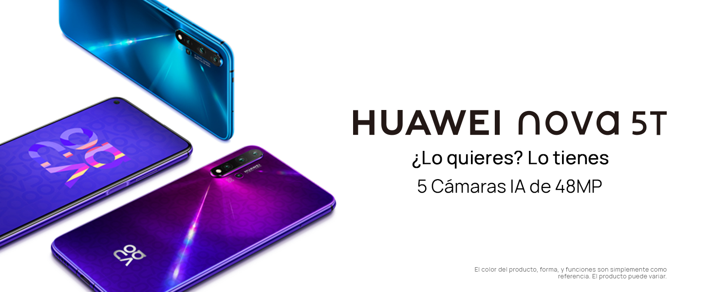 HUAWEI Nova 5T - de 6.26'' (6 GB RAM+128 GB ROM, 5 cámaras IA)