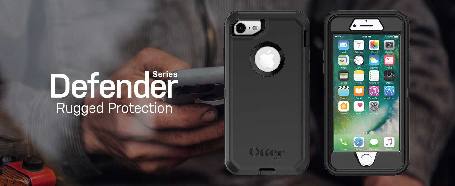 new style a733a f2392 OtterBox Defender Series Case for iPhone 8 & iPhone 7 (Not Plus) -  Frustration Free Packaging - Black