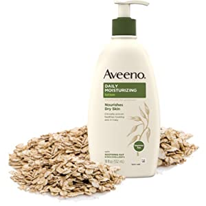 Pump bottle of Aveeno Fragrance-Free Daily Moisturizing Body Lotion with oat