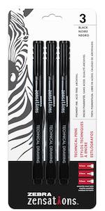 zebra zensations technical pen, assorted point sizes, micro-fineliner pen, pen for drawing