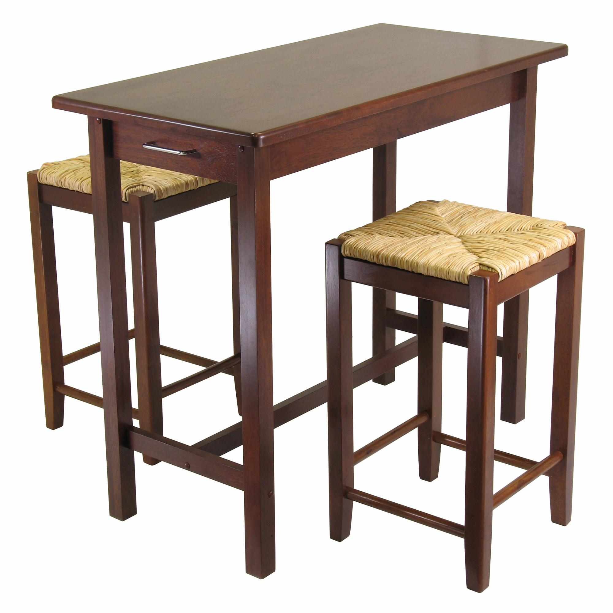 Winsome Kitchen Island Table With 2 Rush Seat Stools 2 Cartons