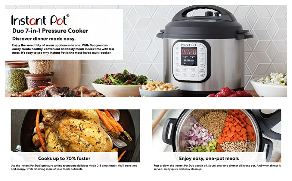 Instant Pot, instant pot duo, pressure cooker, frypan, slow cooker, pot in pot, steamer, rice cooker