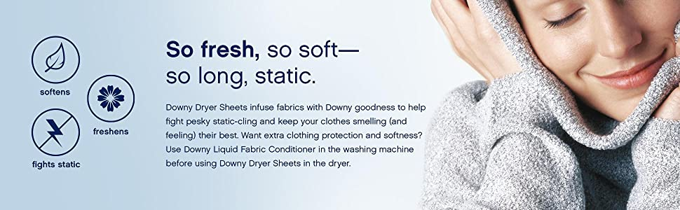 Downy, Dryer, sheets, scented, softens, freshens, static cling, laundry, scented, softness