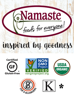 Namaste Foods certified gluten free non-gmo project  usda organic free from top 8 allergens kosher