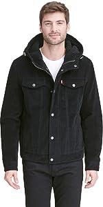 Corduroy Sherpa Hooded Trucker Jacket