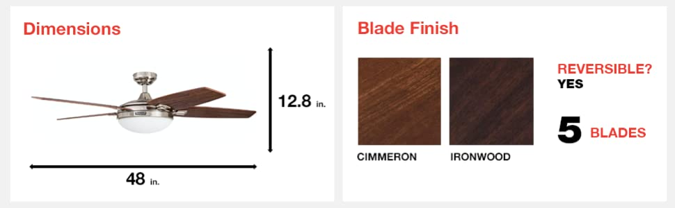 fan dimensions, blade finish, cimmeron, ironwood, 8 blades, reversible, yes, 48 in, 12.8 in