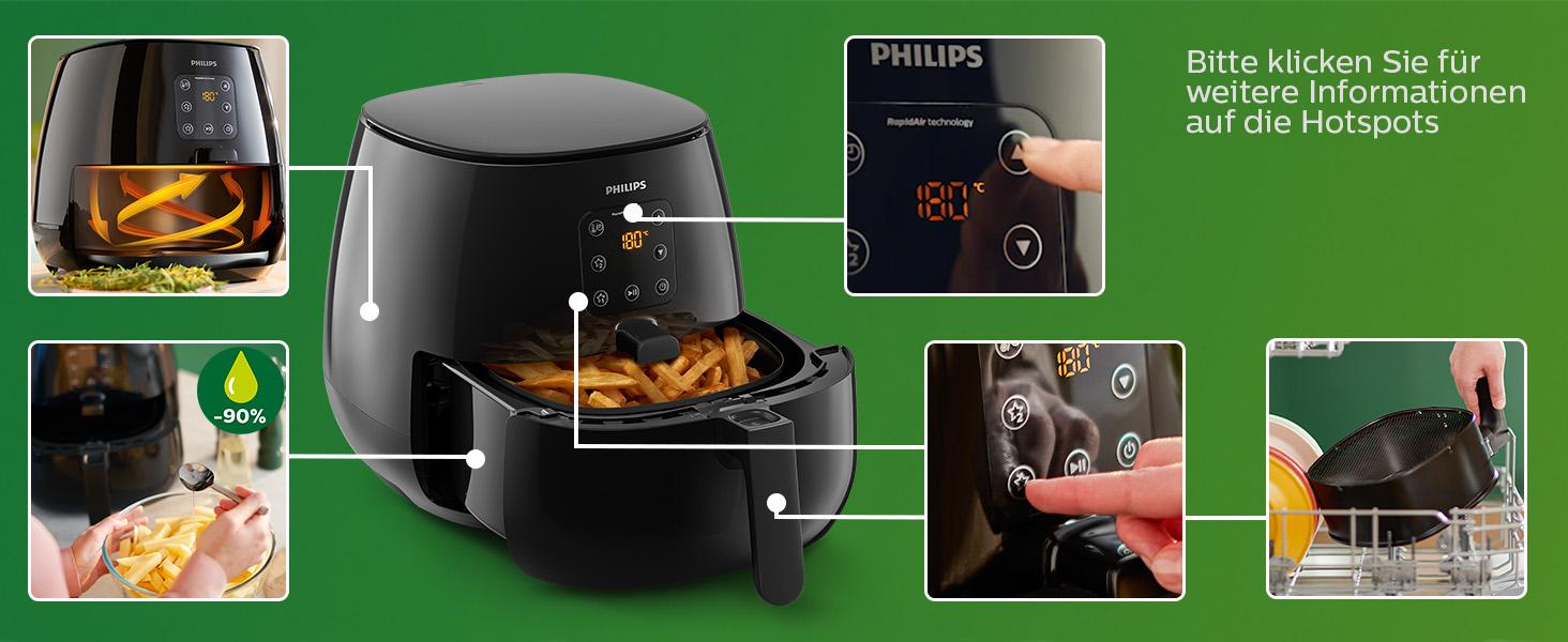Philips HD926090 Airfryer XL – Das Original (Heißluftfritteuse, 1900 W, für 3 4 Personen, 1200 g Kapazität, digitales Display) schwarz