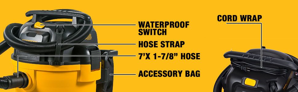 """wet dry vacuum with waterproof switch and cord wrap hose wrap 7' x 1-7/8"""" hose and accessory bag"""