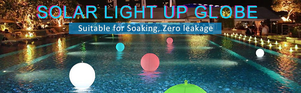 "Esuper Solar LED Lights Inflatable, 13"" Floating Pool Lights Waterproof 4 Color Changing Hangable Ball Light for Pond Pool Beach Wedding, Patio Decorative Night Light, Event Party as Mood Lights-1PC"