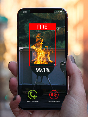 Amaryllo AR3S biometric auto tracking outdoor security camera fire warning support