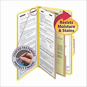Smead Press Guard classification file folders legal size, available in 5 colors, 6 filing surfaces