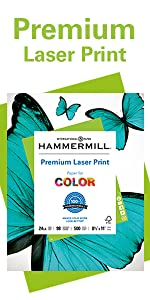 Hammermill Premium Laser 24 lb letter size print and copy paper, 500 sheets, Made in the USA.