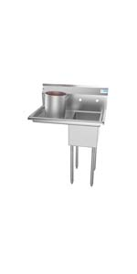 1 compartment commercial stainless steel sink restaurant prep utilitty bowl nsf drainboard single