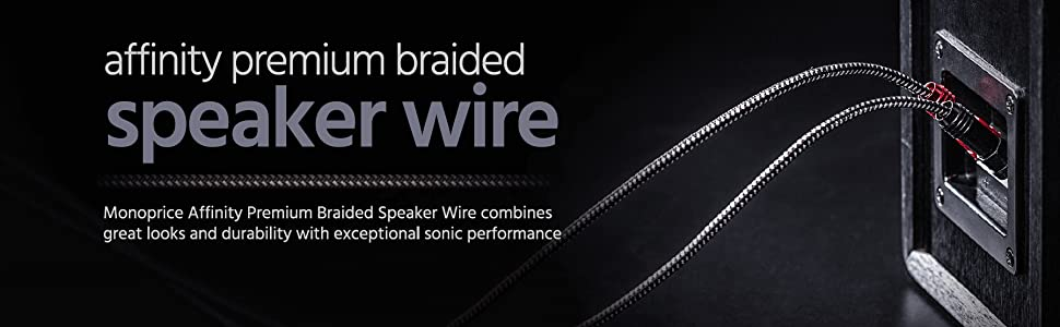 Affinity Premium 14AWG Braided Speaker Wire with Gold Plated Banana Plug Connectors
