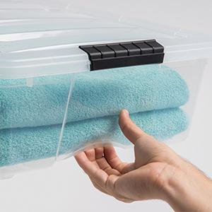 storage totes, plastic tote, storage containers, stackable storage bins, iris storage