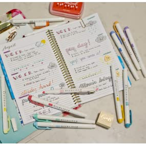 Zebra mildliner and bullet journals, mildliner for planners, double ended mildliner in 15 colors