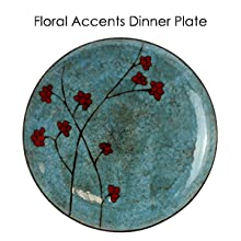 blue red floral accent round stoneware dinnerware dish set setting for 4 microwave dishwasher safe