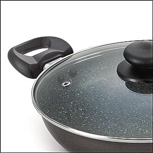 Prestige Omega Deluxe Granite Kadai, 240mm, Black SPN-FOR1