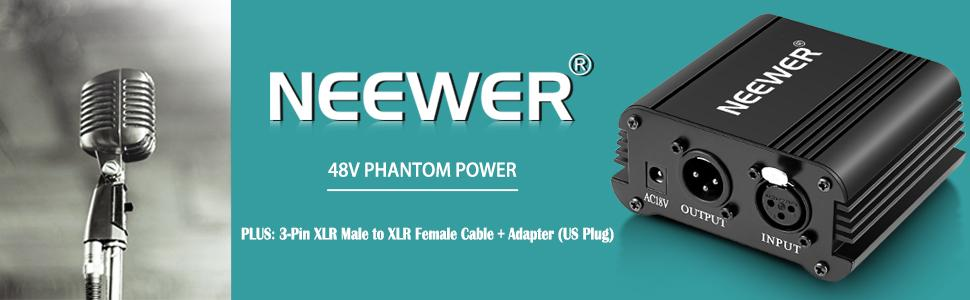 Amazon Com Neewer 1 Channel 48v Phantom Power Supply With Adapter Bonus Xlr 3 Pin Microphone Cable For Any Condenser Microphone Music Recording Equipment 8 Feet Musical Instruments