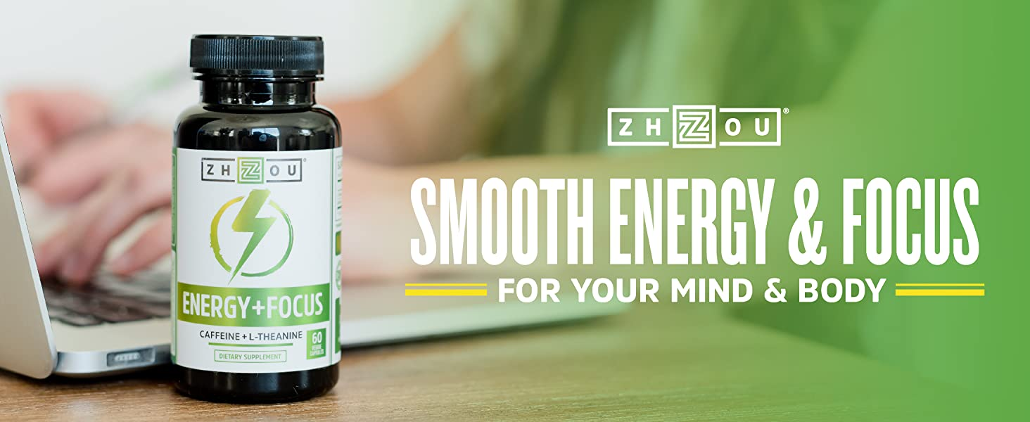 Bottle of Energy + Focus by Zhou Nutrition for smooth energy and focus for your mind and body