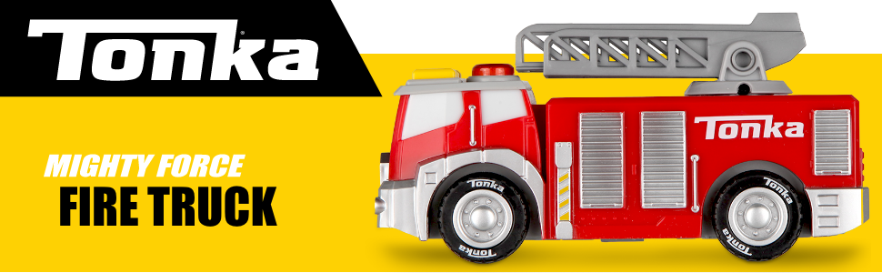 Amazon Com Basic Fun Tonka Mighty Force Lights Sounds Fire Truck Toys Games