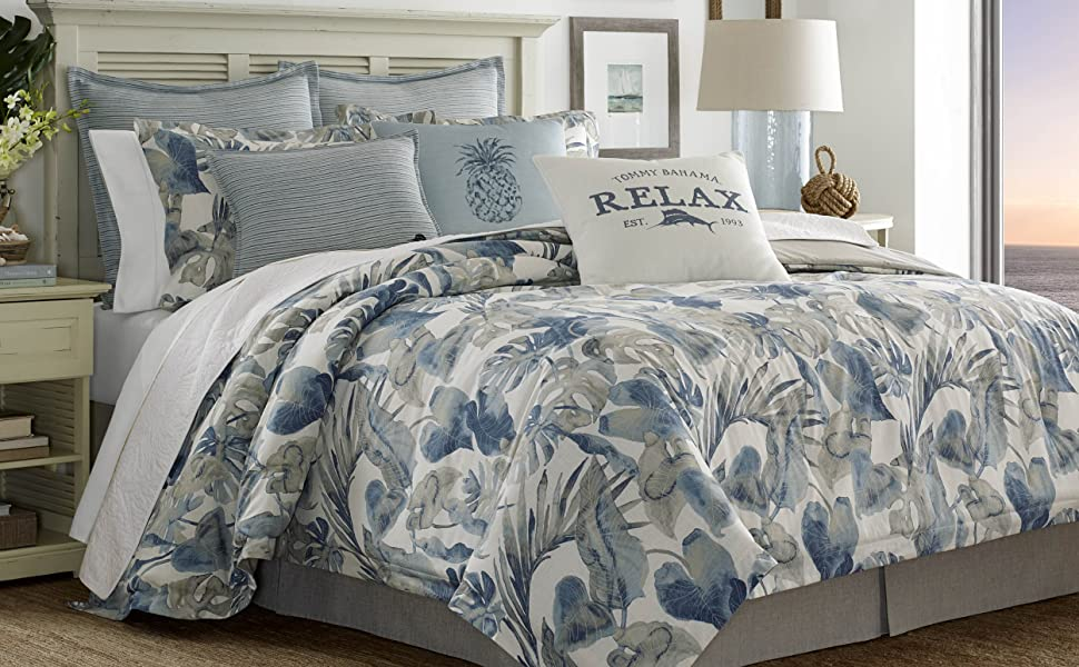 Tommy Bahama;Floral Comforter Sets;Blue Comforter sets;cotton comforter sets;queen comforter set;