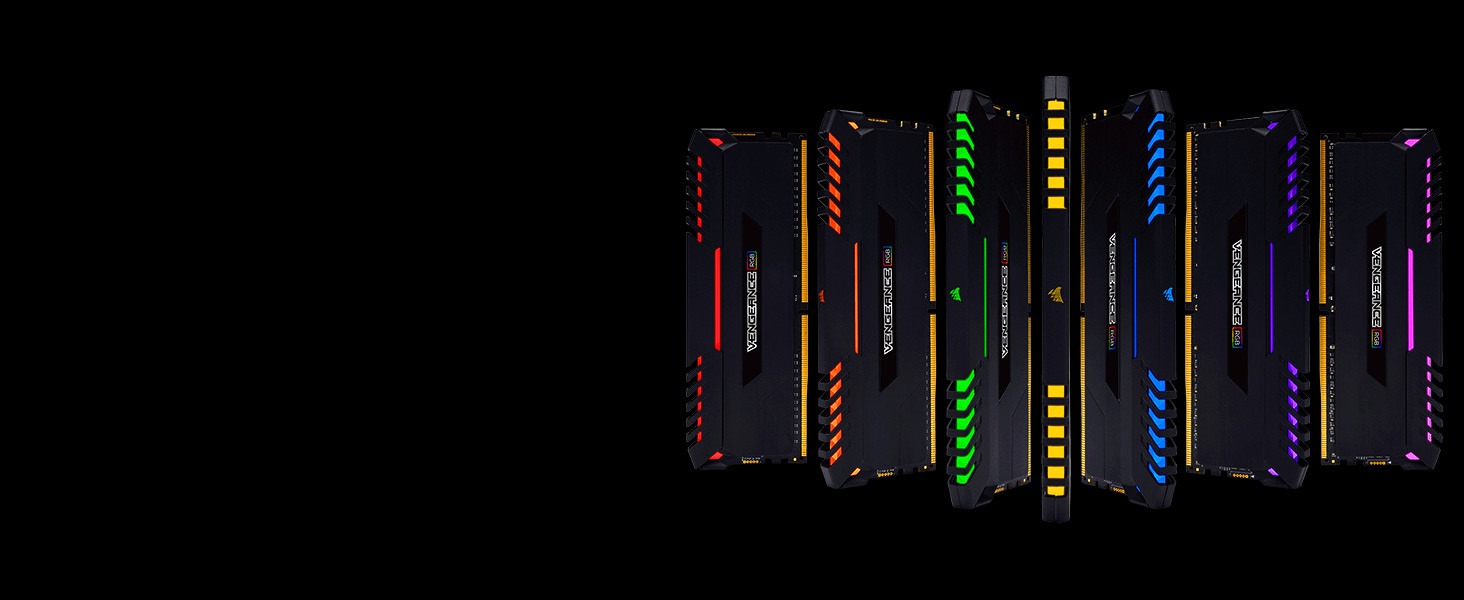 Image result for STUNNING RGB. STRIKING SPEED. Whether you are upgrading a system, building an ultra fast gaming rig, or attempting to break overclocking world records, CORSAIR memory will exceed your expectations. Welcome VENGEANCE RGB to the family.