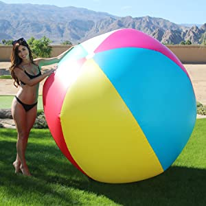 GoFloats 6 Giant Inflatable Beach Ball | Choose Merica or Classic Design | Extra Large Jumbo Beach Ball with Patch Repair Kit Included