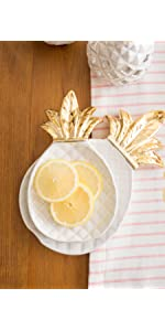 gold pineapple;appetizer platters;ring dish;jewelry tray