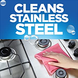 Cleans stainless steel