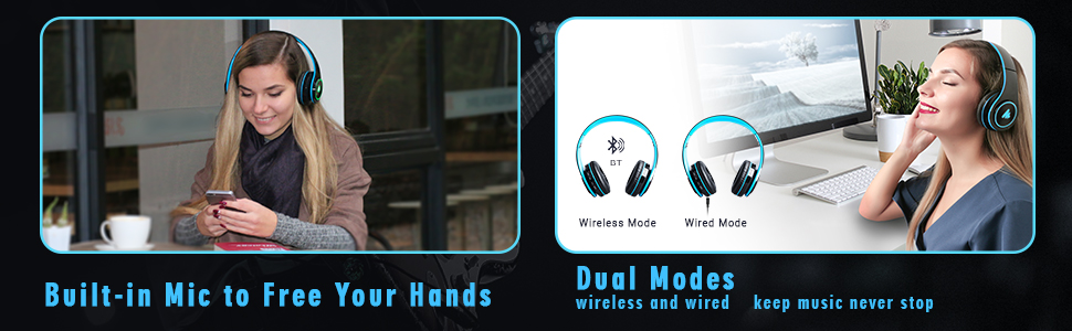 built in mic to free hands dual modes wireless and wired mode