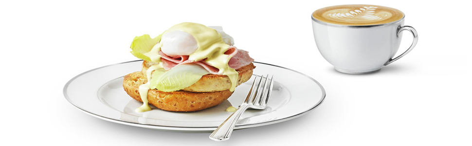 bagel and poached egg
