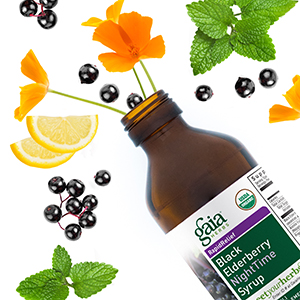 Gaia Herbs Black Elderberry Nighttime Syrup Bottle Image