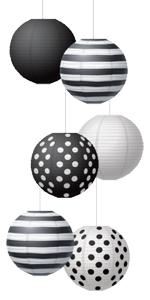 """Black amp; White 8"""" Hanging Paper Lanterns"""