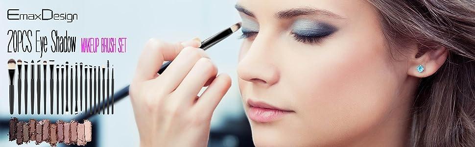 EmaxDesign 20 Pieces Makeup Brush Set Professional Face Eye Shadow Eyeline Brushes