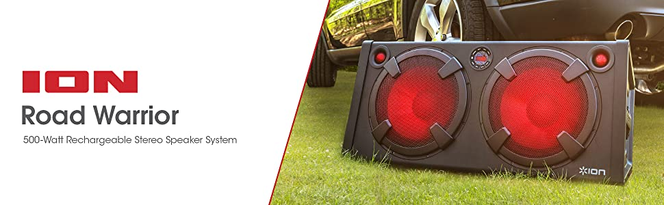 ION Audio Road Warrior | 500-Watt Portable Bluetooth Stereo Speaker System with Twin Lighted Speakers, On-Board FM Radio, Rechargeable Battery and AC ...