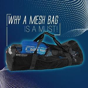 mesh bag for snorkeling equipment, mesh bag for scuba diving equipment