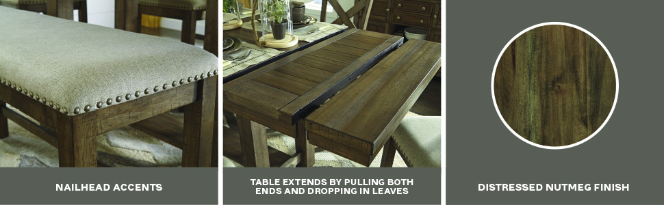 nailhead accents table extension distressed nutmeg brown finish smokey smoky color