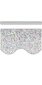Silver Scalloped Sparkle Border Trim