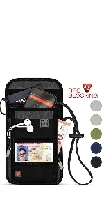 rfid neck wallet stash passport cards multiple compartment travel pouch one size