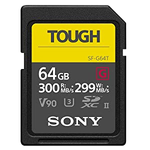 Sony SF-G64T UHS-II SD Tough Tarjeta de Memoria - 64GB Read 300mb/s Write 299mb/s