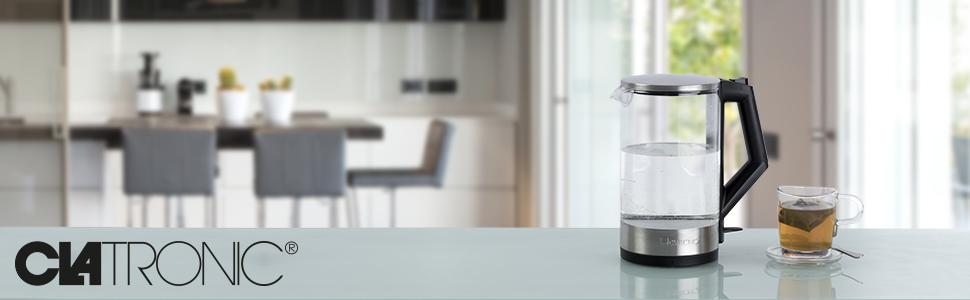 Edelstahl//Transparent CLATRONIC WKS 3641 inox Wasserkocher