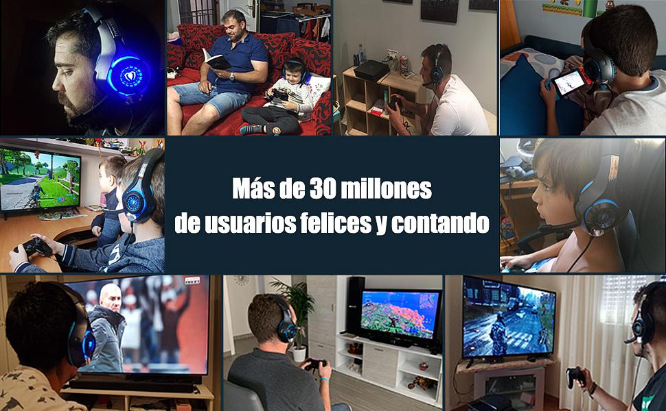 Beexcellent GM-1 - Auriculares Gaming para PS4, PC, Xbox one, PlayStation - Psone, Cascos Ruido Reducción de Diademas Cerrados Profesional con ...